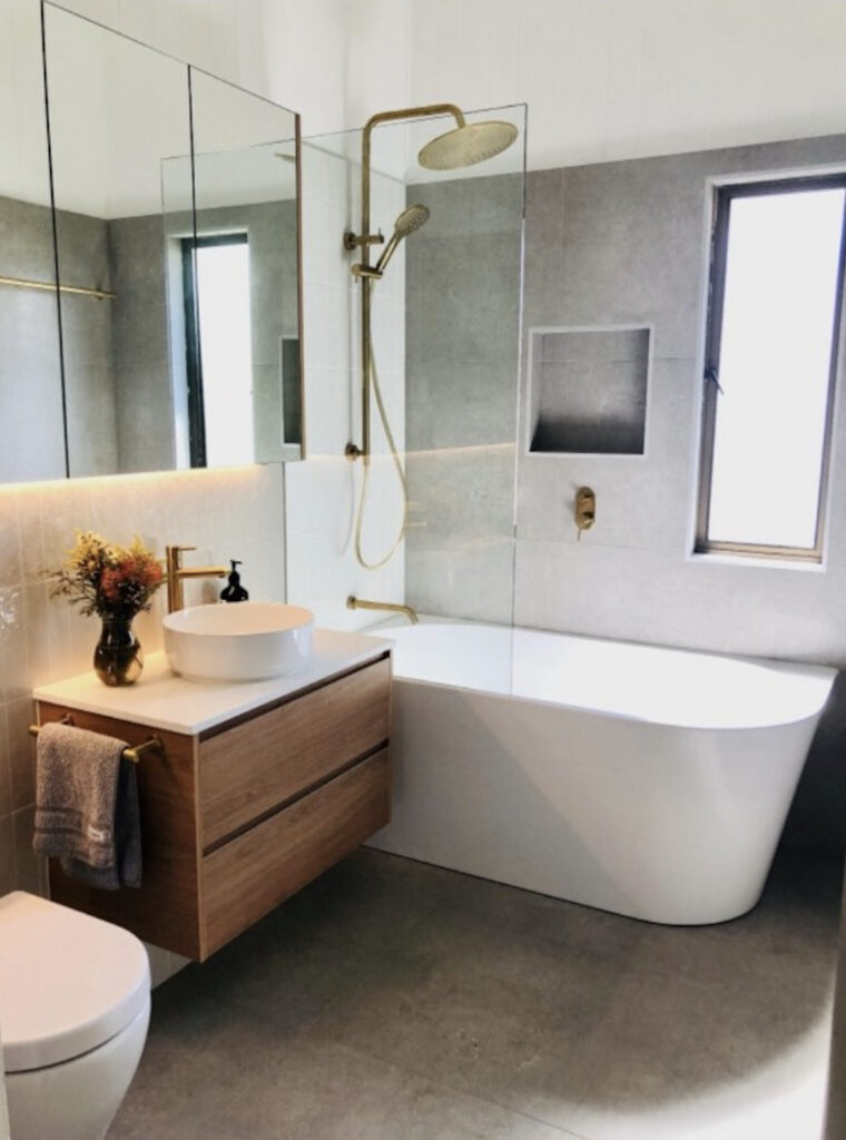 Bathroom Renovation Kenmore Floating Vanity Gold Fittings Bathroom Makeover